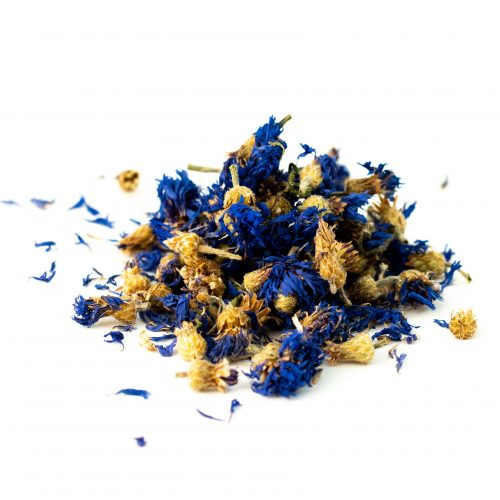 Cornflower Blue Whole PHOTO: Photo of dried, harvested Blue Cornflower Petals on a white back ground. Photo by Hatton Naturals.